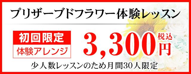 プリザーブドフラワー体験レッスン 初回限定 体験アレンジ 3,000円
