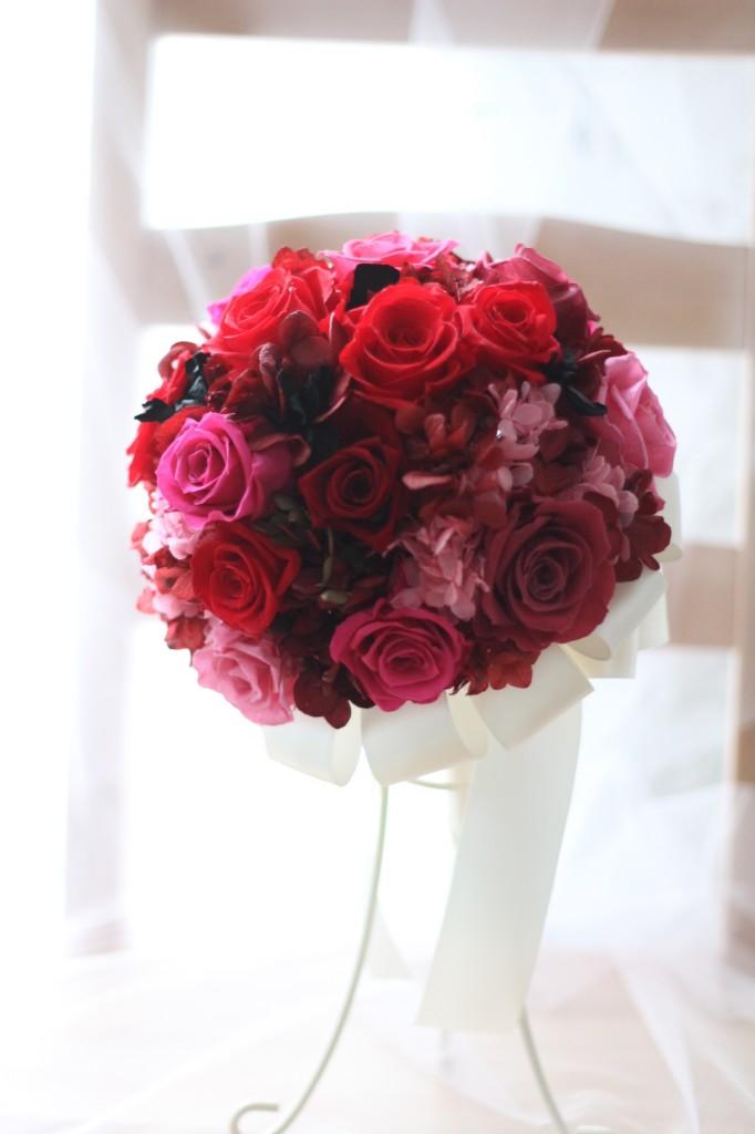 赤×ピンク×黒 大人ラウンドブーケ♡