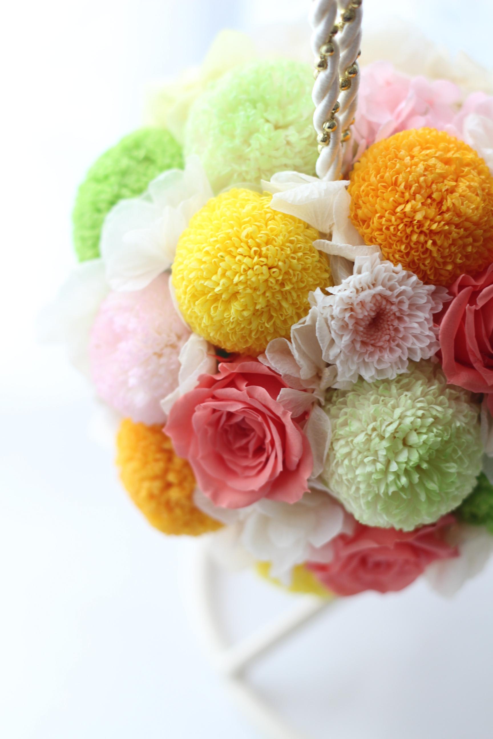 ローズ&和花の和装ボールブーケ♡