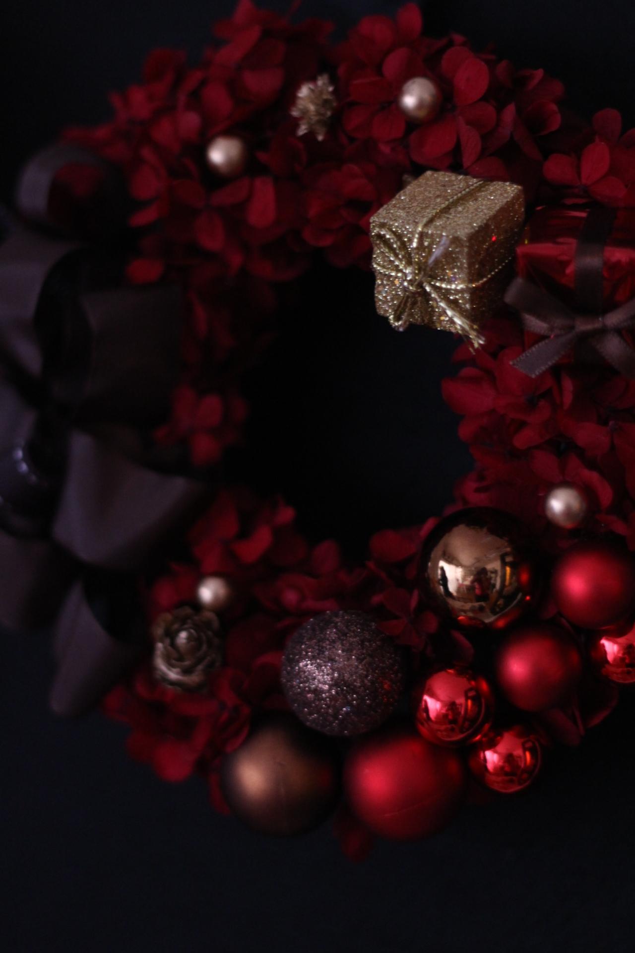 クリスマスリース レッド×ブラウン×ゴールド♪