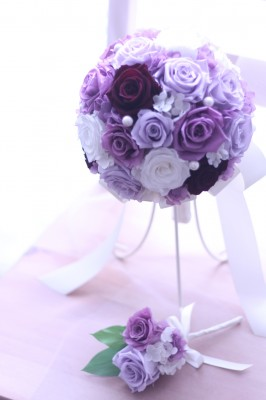 紫グラデーション ラウンドブーケ♡