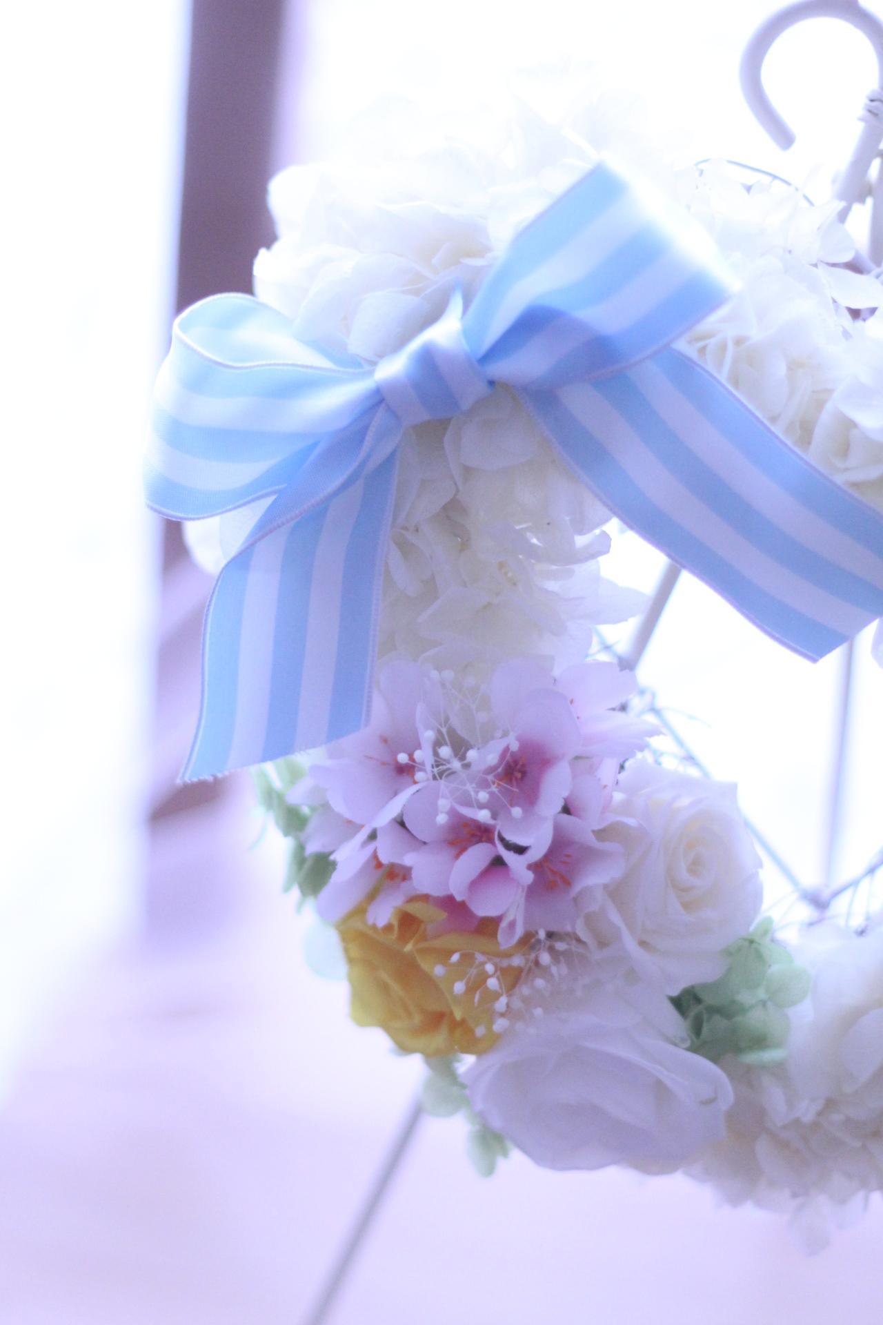 【フリー】桜のふわもこハートリース♡